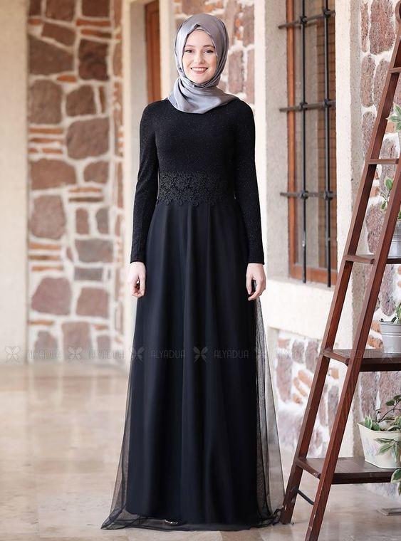 Alyadua - Siyah Beli Dantel Abiye - ADC14597
