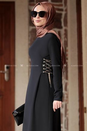 Siyah Beste Elbise - RZ12861 - Thumbnail
