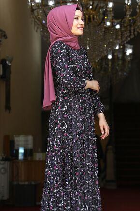 Siyah Çiçekli Elbise - AMH16281 - Thumbnail