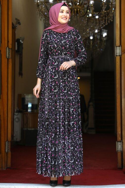 Amine Hüma - Siyah Çiçekli Elbise - AMH16281