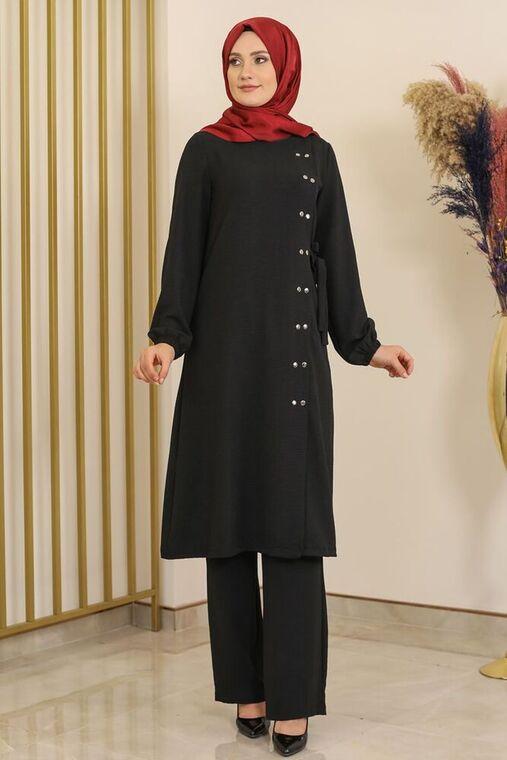 Fashion Showcase - Siyah Çıtçıt Detay İkili Takım - FS16392