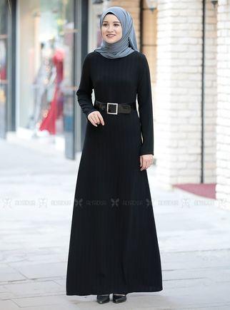 Siyah Damla Elbise - RZ14233 - Thumbnail