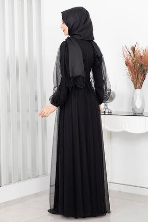 Siyah Derin Abiye - RZ16161 - Thumbnail