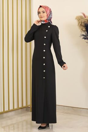 Siyah Düğme Detay Manolya Elbise - FS16312 - Thumbnail