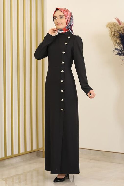 Siyah Düğme Detay Manolya Elbise - FS16312