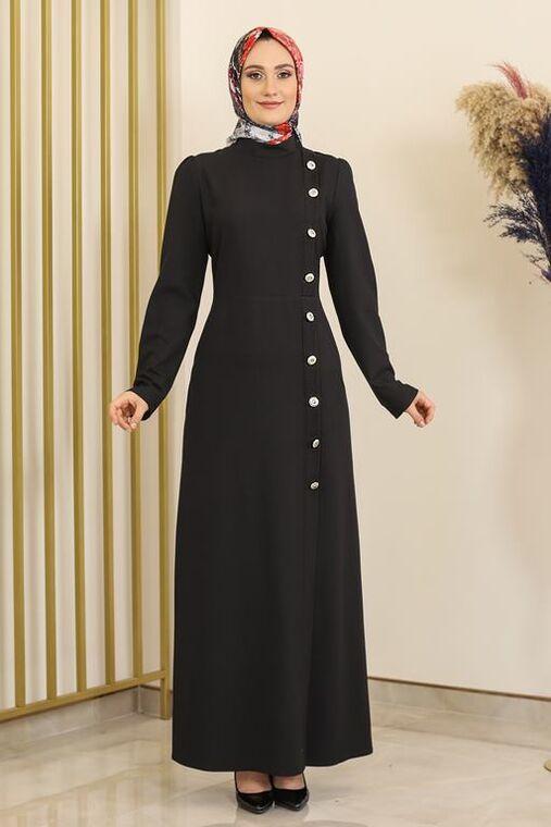 Fashion Showcase - Siyah Düğme Detay Manolya Elbise - FS16312