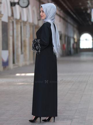 Siyah Duru Elbise - ES14442 - Thumbnail