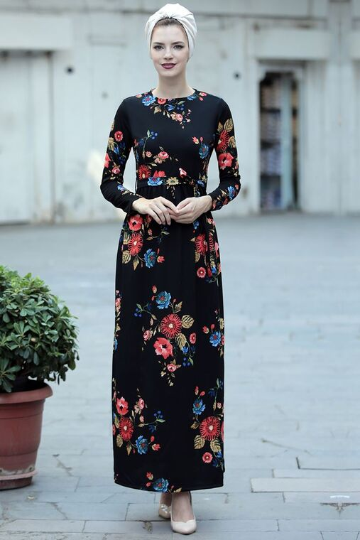 Selma Sarı - Siyah Narçiçeği Elbise - SES15416