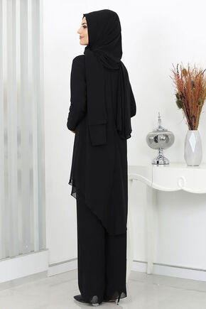 Siyah Ela Taş Detay Takım - SUR16012 - Thumbnail