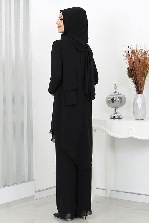 Siyah Ela Taş Detay Takım - SUR16012