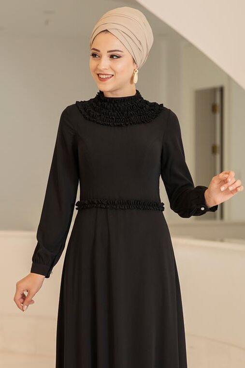Siyah Eslem Elbise - DL15689
