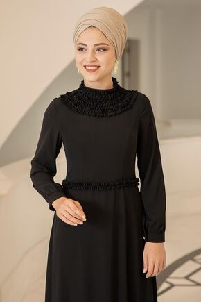 Siyah Eslem Elbise - DL15689 - Thumbnail