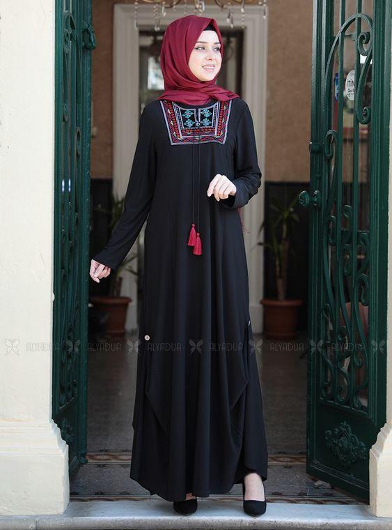 Emsale - Siyah Etnik Elbise - ES14914