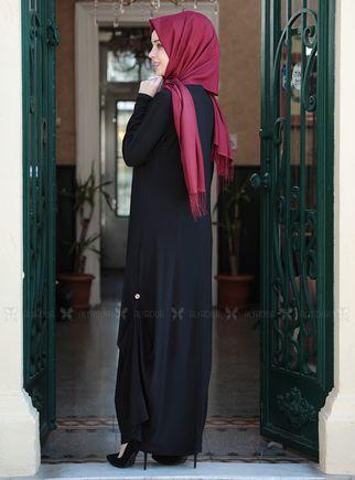 Siyah Etnik Elbise - ES14914 - Thumbnail