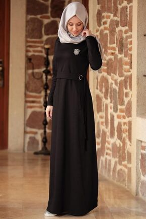 Siyah Eylem Elbise - ES15628 - Thumbnail
