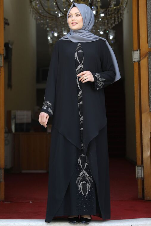Amine Hüma - Siyah Fulya Abiye - AMH16109