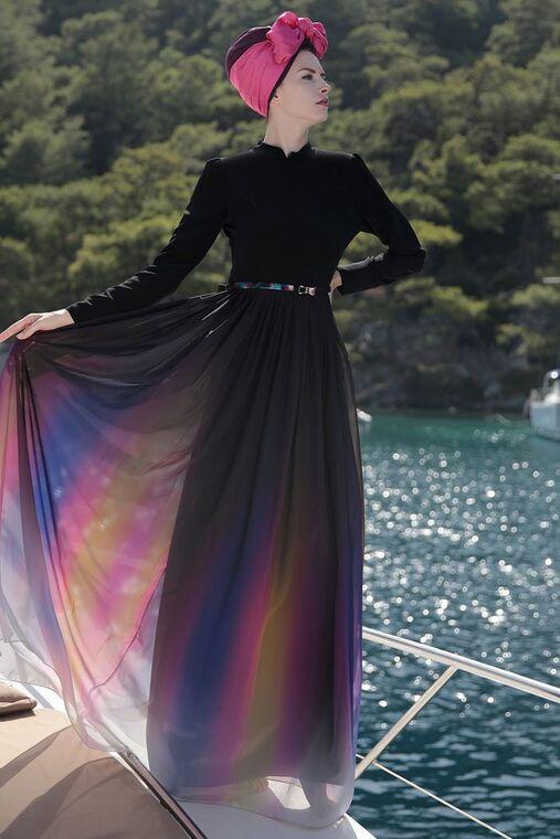 Selma Sarı - Siyah Gökkuşağı Elbise - SES15417