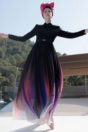 Siyah Gökkuşağı Elbise - SES15417 - Thumbnail