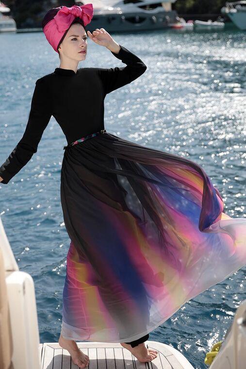 Siyah Gökkuşağı Elbise - SES15417