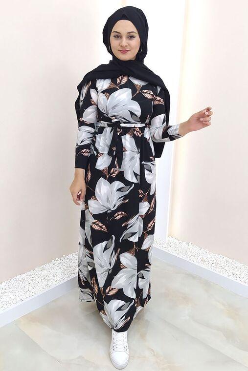 Selma Sarı - Siyah Gonca Elbise - SES15415