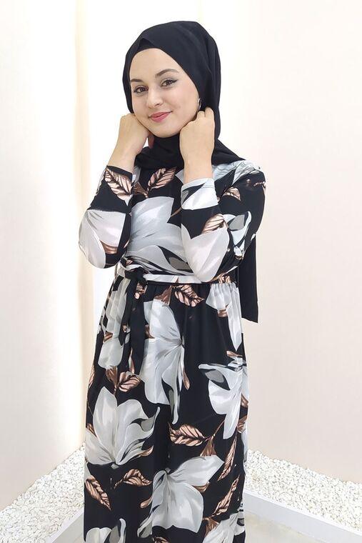 Siyah Gonca Elbise - SES15415