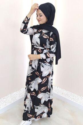 Siyah Gonca Elbise - SES15415 - Thumbnail