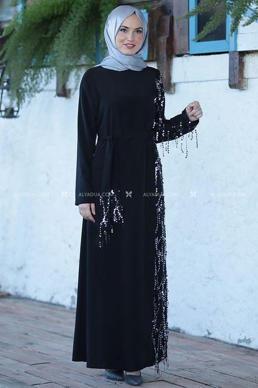 Emsale - Siyah Salkım Elbise - ES14201