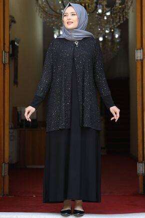Amine Hüma - Siyah Güzide Abiye - AMH16067