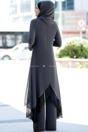 Gri Havin Tunik Pantolon Takım - PR12159 - Thumbnail