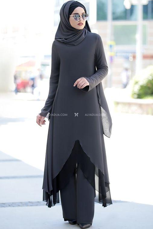 Piennar - Gri Havin Tunik Pantolon Takım - PR12159