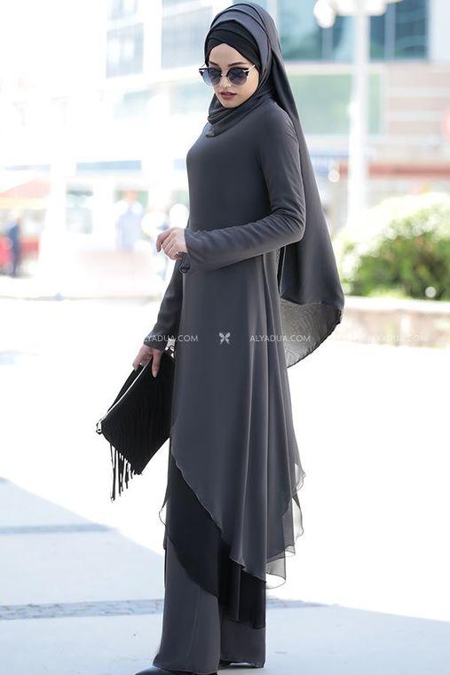 Gri Havin Tunik Pantolon Takım - PR12159