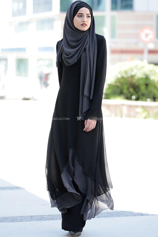 Siyah Havin Tunik Pantolon Takım - PR12162