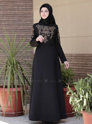 Emsale - Siyah İclal Elbise - ES15071