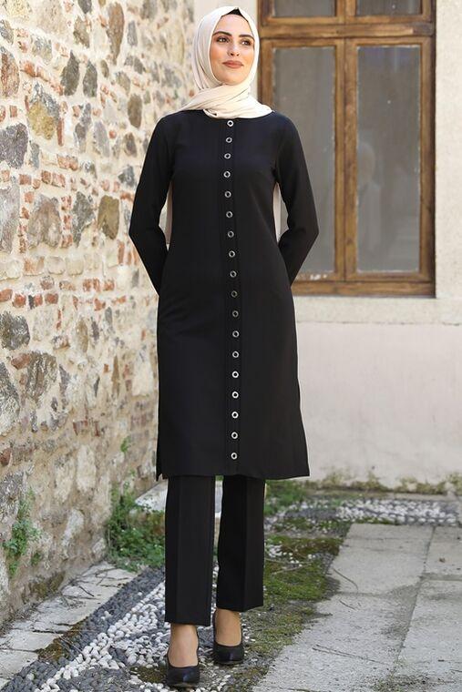 Nidya Moda - Siyah İkra İkili Takım - NM16051