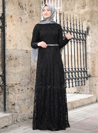 Rabeysa - Siyah İpek Elbise - RS15017