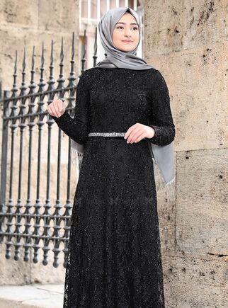 Siyah İpek Elbise - RS15017 - Thumbnail