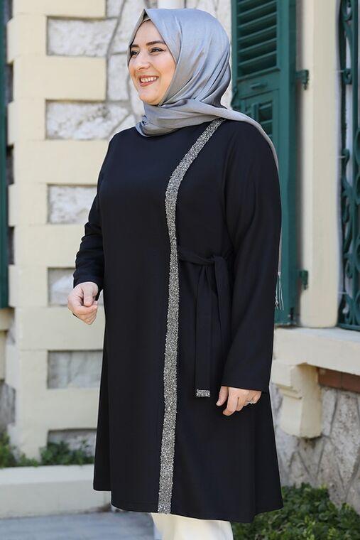 Siyah İpek Tunik - ES15942