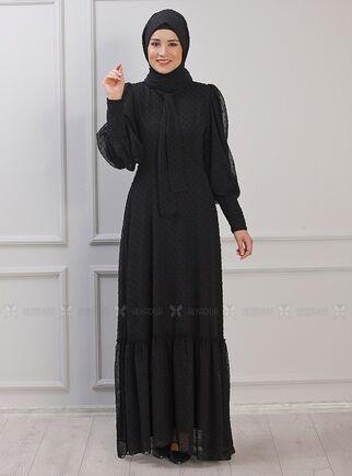 Rana Zenn - Siyah Işıl Elbise - RZ15340
