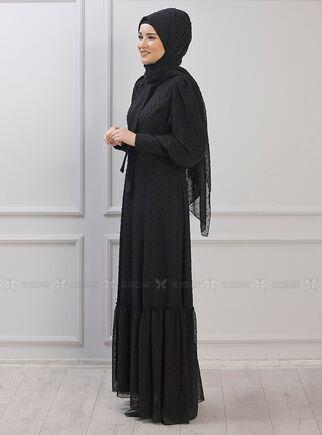 Siyah Işıl Elbise - RZ15340 - Thumbnail