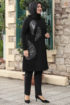 Emsale - Siyah Işıltı Tunik - ES15779