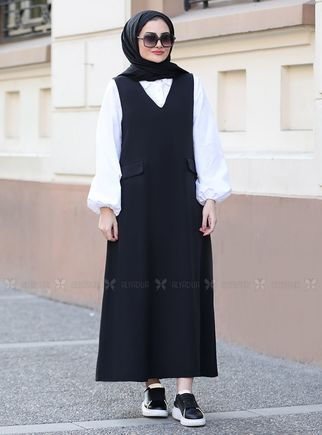 Seda Tiryaki - Siyah Jile Gömlek Takım - ST14564