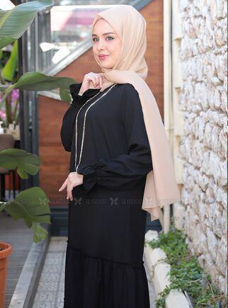 Siyah Kaktüs Elbise - ES15315 - Thumbnail