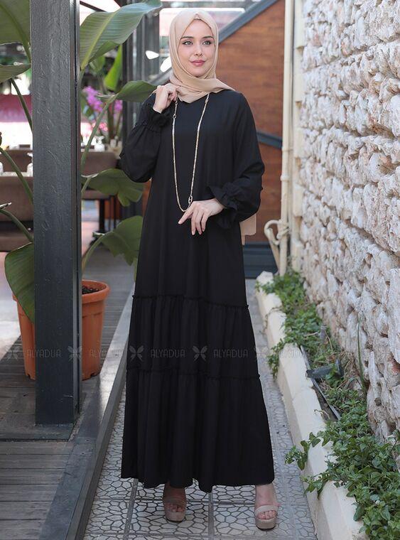 Emsale - Siyah Kaktüs Elbise - ES15315