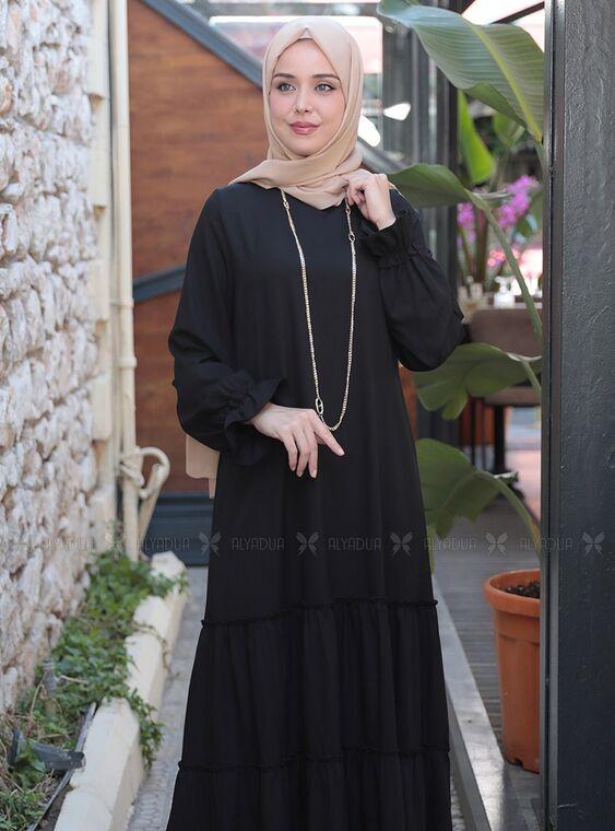 Siyah Kaktüs Elbise - ES15315