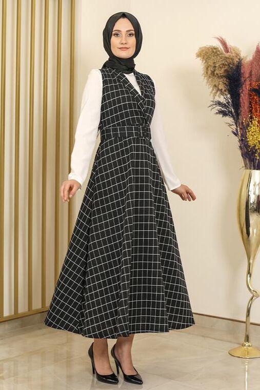 Siyah Kare Desen Jile Elbise -FS16293