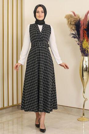 Siyah Kare Desen Jile Elbise -FS16293 - Thumbnail