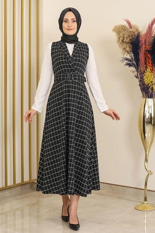 Fashion Showcase - Siyah Kare Desen Jile Elbise -FS16293