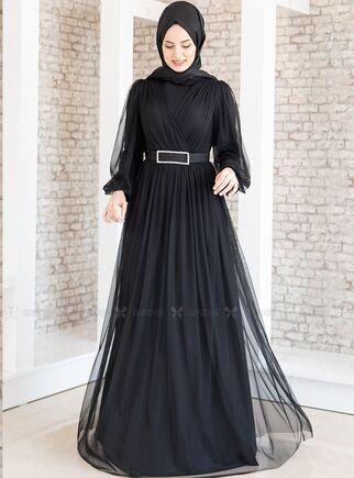 Fashion Showcase - Siyah Kemeri Taşlı Tül Detay Abiye - FS15192