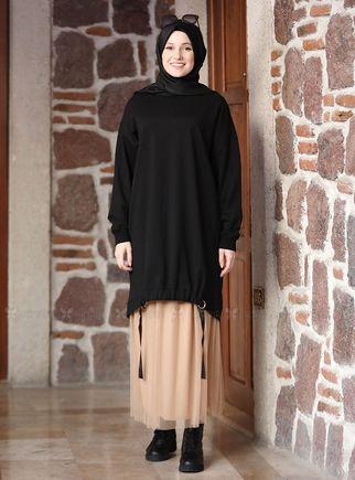 Alyadua - Siyah Kemerli Tunik Etek Takım - ADC14634