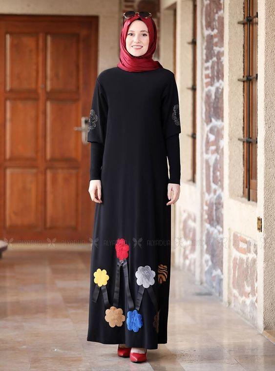 Alyadua - Siyah Kolları Merserize Çiçek Detaylı Elbise - ADC14585
